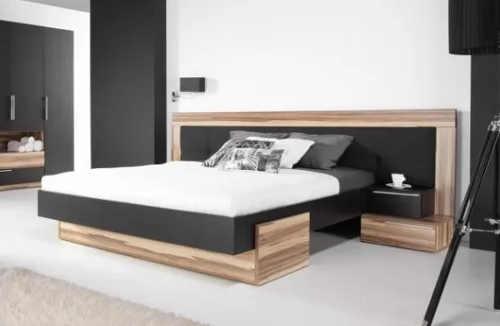 Levná ořechová manželská postel s velkým čelem
