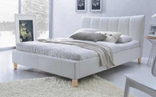 Manželská postel Halmar 160 x 200 cm bílá ekokůže