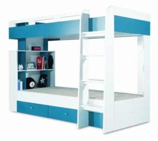 Modro-bílá patrová postel Mobi pro dva kluky