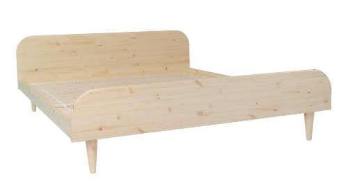 Nízká manželská postel z přírodního borovicového dřeva