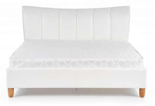Romantická postel čalouněná bílou kůži