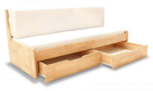 Rozkládací dřevěná postel s úložným prostorem