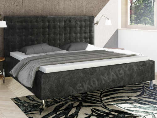 Šedá žíhaná postel Medixo Stratford 180x200 cm