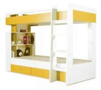 Žluto-bílá poschoďová postel s úložnými prostory