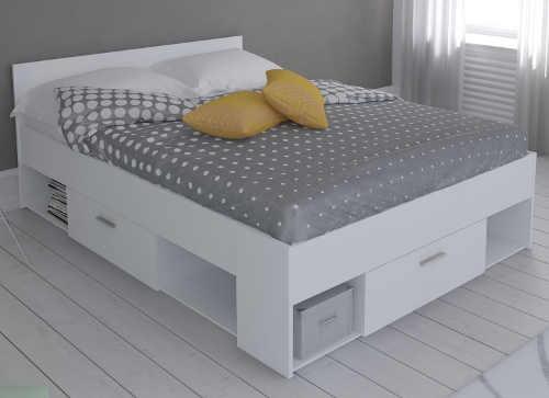 Bílá manželská postel s úložnými šuplíky