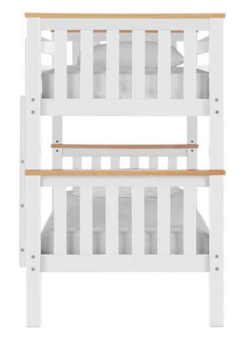 Bílá patrová postel borovice masiv