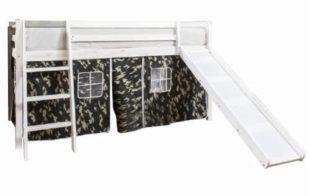 Bílá vyvýšená dětská postel se skluzavkou a domečkem