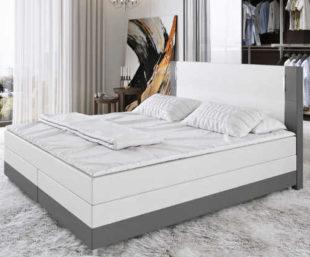Bílo-šedá luxusní Box Spring postel s LED osvětlením