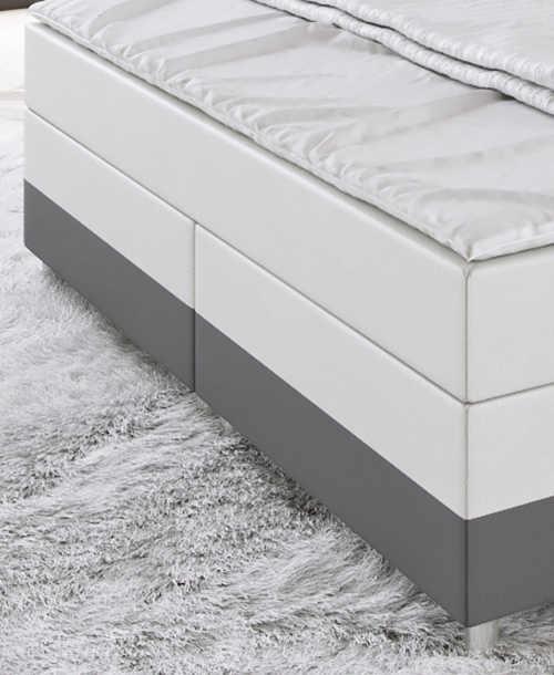 Vysoká americká postel čalouněná bílou a šedou ekokůží