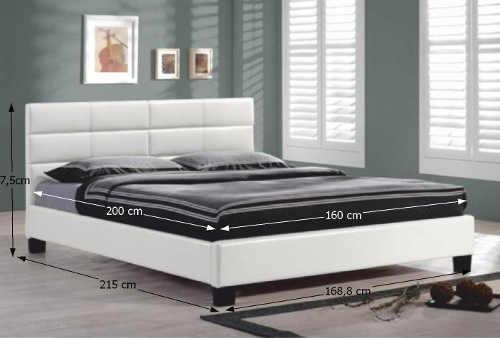 Bílá dvoulůžková postel čalouněná ekokůží 160 x 90 cm
