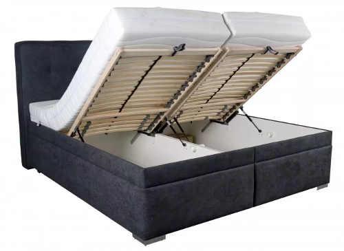 Čalouněná manželská postel s velkým úložným prostorem