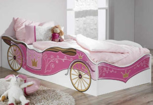 Dívčí postel Kate 90x200 cm - růžový královský kočár