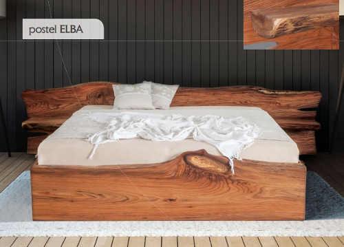 Manželská postel z masivního jilmového dřeva