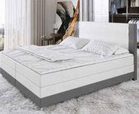 Moderní bílo-šedá Box Spring kožená postel s LED osvětlením