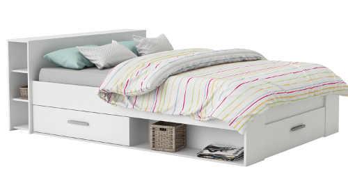 Multifunkční bílá postel bez roštu a matrace