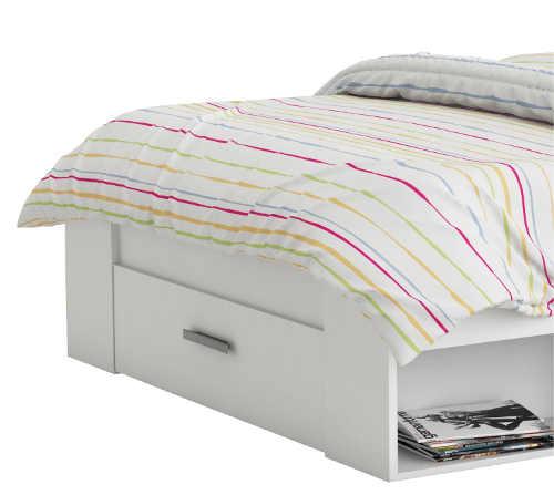 Multifunkční postel s šuplíkem v čele