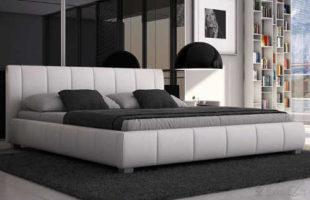 Nízká bílá manželská kožená postel
