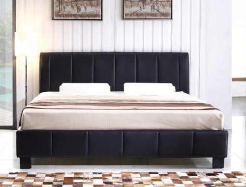 Nízká tmavá čalouněná kožená dvoulůžková postel