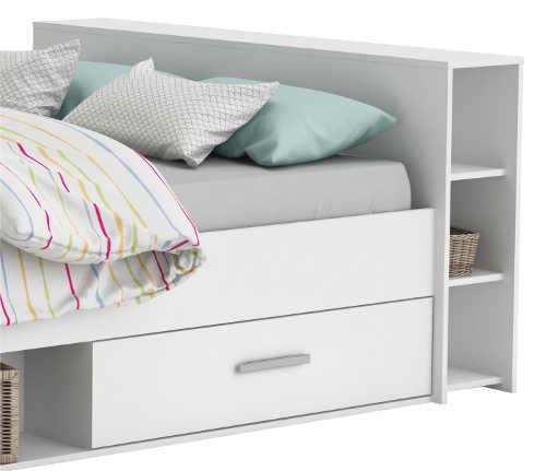 Praktická postel s šuplíky a poličkami za hlavou