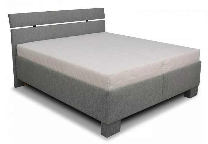 Šedá čalouněná manželská postel s dvěma polohovací rošty