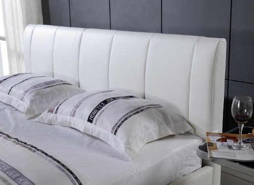 Vysoké bílé čelo manželské postele ekokůže
