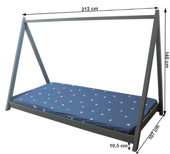 Dětská postel s horním rámem pro zavěšení věcí