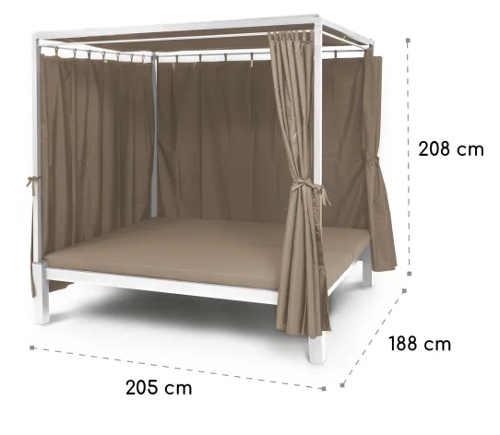 Kovový zahradní altán s postelí