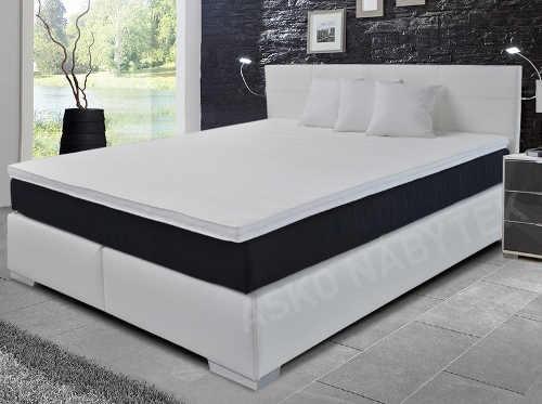 Luxusní boxspring manželská postel Livorno bílá ekokůže