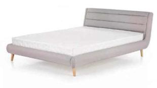 Nízká šedá čalouněná postel Elanda 140x200 cm