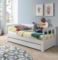 Dětská rozkládací postel se zvýšenou zádovou stěnou