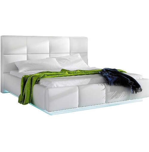 Manželská postel v moderním provedení s LED osvětlením