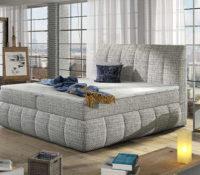 Manželská postel v moderním stylu s roštem, matrací a úložným prostorem