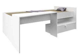 Bílá vyvýšená postel s psacím stolem