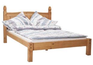 Masivní borovicová postel v medovém odstínu CORONA 140x200