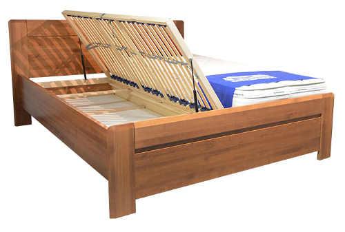 Masivní postel s dvěma výklopnými rošty
