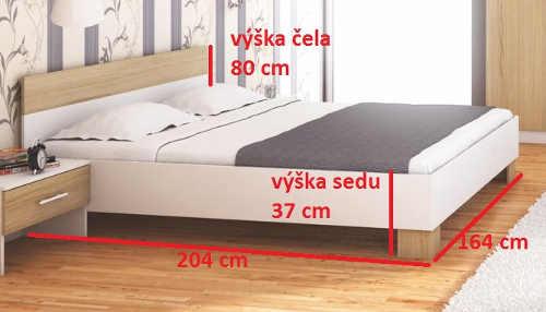Nízká manželská postel šířka 160 cm