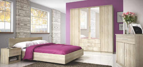 Příjemná ložnice ze světlého dřeva dub sonoma