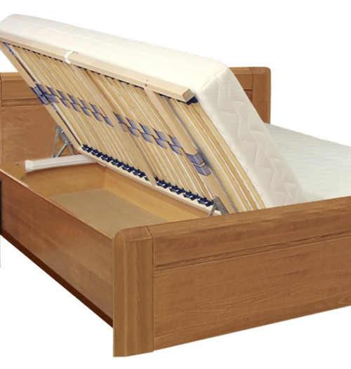 Zvýšená manželská postel s velkým úložným prostorem