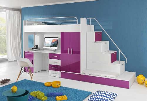 Dětská patrová postel coby element praktického setu
