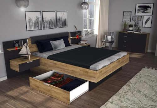 Dvoulůžková postel s roštem a nočními stolky