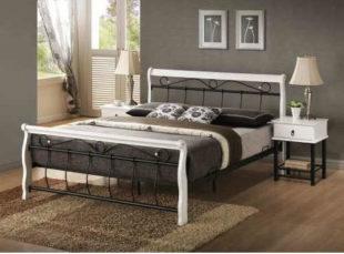 Manželská postel v klasické černo-bílé kombinaci z kvalitního materiálu