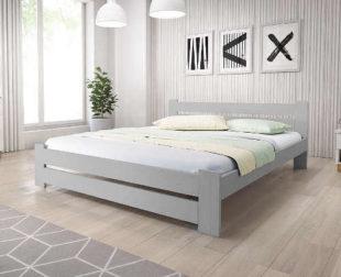 Manželská postel z masivu s roštem v přírodním designu