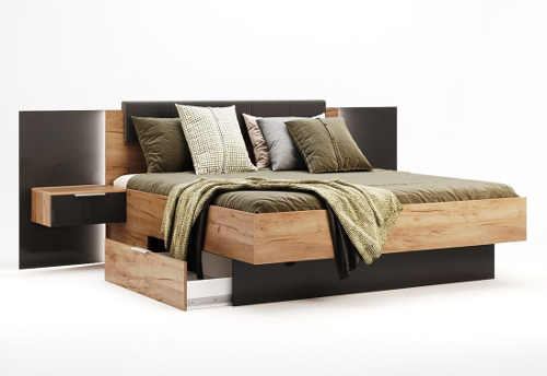 Moderní manželská postel s roštem a nočními stolky