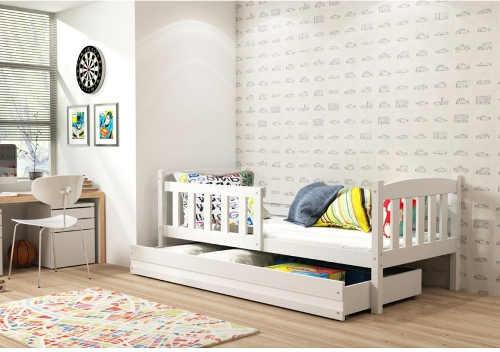 Moderní postel do dětského pokoje se zábranou