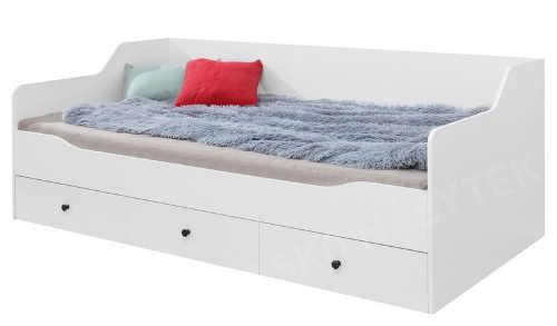 Bílá jednolůžková postel s úložnými zásuvkami
