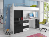 Černobílá multifunkční patrová postel se šatní skříní a PC stolkem