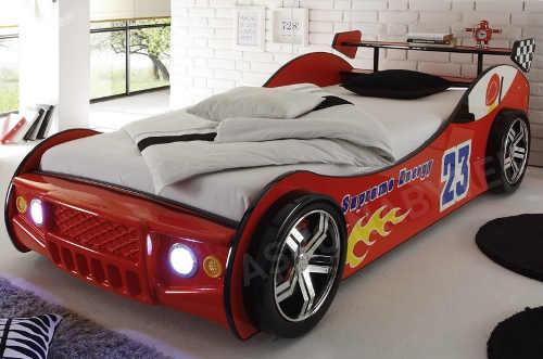 Dětská auto postel Energy 90x200 cm, červená závodnička s osvětlením