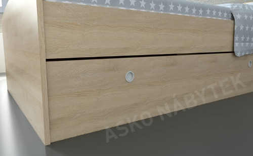 Dřevěné jednolůžko s velkým úložným prostorem