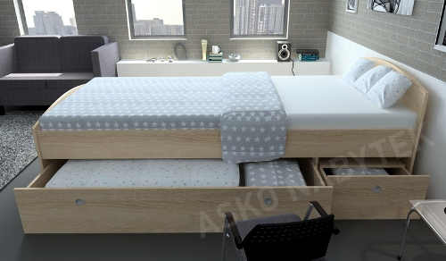 Jednolůžková postel dub sonoma s úložnými šuplíky