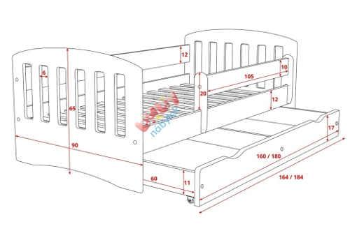 Kompletní rozměry bílé dětské postele s úložným prostorem
